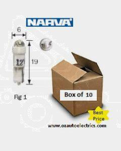 Narva L.E.D Wedge Globes (Box of 10) - Green, 12v T-5mm KW2 x 4.6d