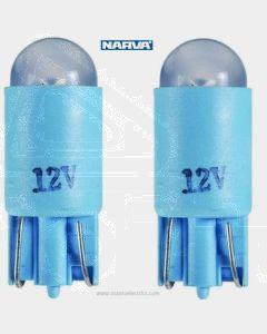 Narva L.E.D Wedge Globes (2) - Blue, 12v T-10mm KW2.1 x 9.5d