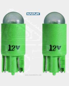 Narva L.E.D Wedge Globes (2) - Green, 12v T-10mm KW2.1 x 9.5d