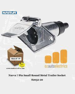 Narva 82032-20 7 Pin Small Round Metal Trailer Socket (Bulk 20)