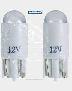 Narva L.E.D Wedge Globes (2) - White, 12v T-10mm KW2.1 x 9.5d