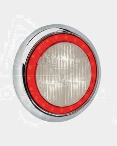 Narva 94342C 9-33 Volt L.E.D Reverse Lamp (White) with Red L.E.D Tail Ring, 0.5m Hard-Wired Sheathed Cable and 150mm Contoured Chrome Base