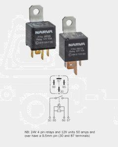 Narva 68012BL 12V 70Amp 4 Pin Normal Open Relay Resistor Protected